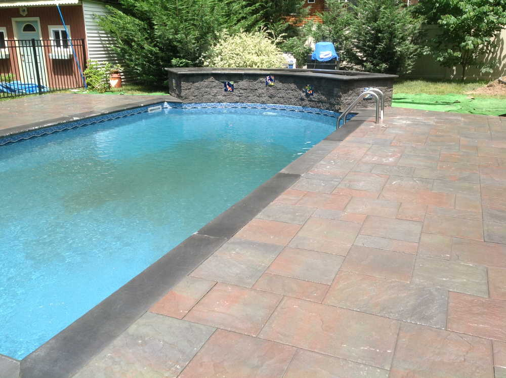 Li backyard makeover port jefferson brick repair for Backyard makeover with pool